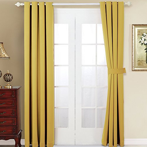 Home Soft Things Serenta 4 Piece Grommet Darkening Thermal Insulated Blackout Window Panel Curtain Set, 2 Curtains and 2 Back Ties, 54 x 96 , Jojoba Yellow