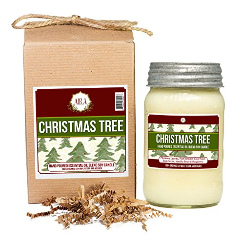 Aira Soy Candles - Organic, Kosher, Vegan, in Mason Jar w/ Therapeutic Grade Essential Oil Blends - Hand-poured 100% Soy Candle Wax - Paraffin Free, Burns 110+ Hours - Christmas Tree Scent - 16 Ounces