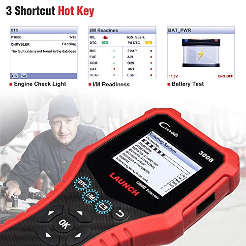 LAUNCH Creader 3008 2018 OBD2 Scanner Engine Scan Tool Automotive Diagnostic Tool with Battery Test and Print Function, Support O2 Sensor/Evap System Test/Check Engine Light/Graph Data Stream by LAUNCH (Image #4)