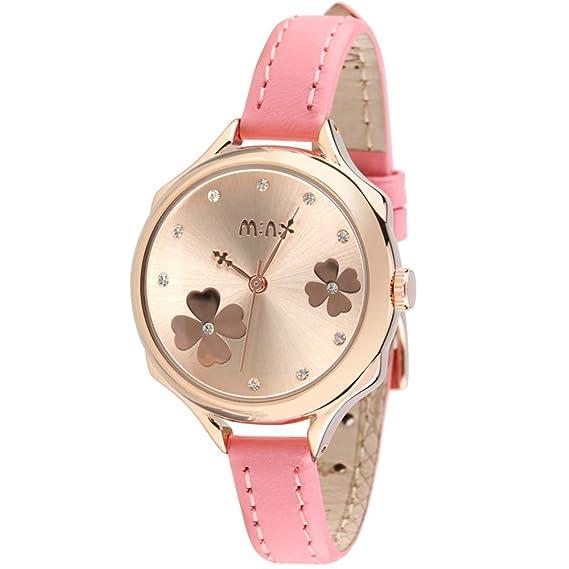 Flor Diamante de imitación Escala Relojes de Mujer, Oro Piel sintética Relojes Analógicos, Rosa: Amazon.es: Relojes