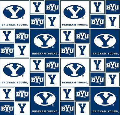 NCAA Brigham Young University BYU Cougars Licensed Block Cottton Fabric Sold by The Yard ()