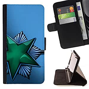 BETTY - FOR Samsung Galaxy S4 Mini i9190 - Green Shiny Star Soviet - Style PU Leather Case Wallet Flip Stand Flap Closure Cover