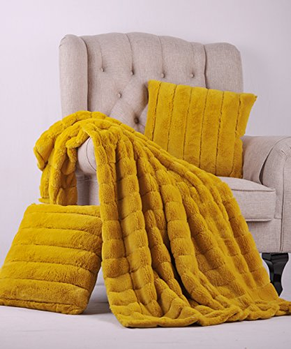 "BOON Rabbit Fur Throw with 2 Pillow Combo Set, 50"" x 60"", Lemon Curry"
