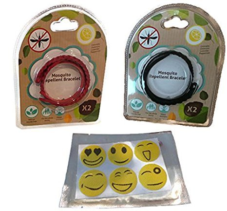 Insect Repellent Care - Kenza Care Mosquito Repellent Family Pack, DEET free 100% Natural Oils, for summer camping outdoors (4 Pack of Leather Bracelets (2 Red/2 Black))