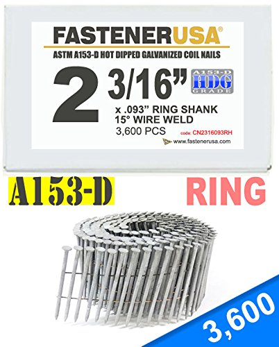2 3/16'' x .093 RING A153-D HOT DIP COIL NAILS 15 DEGREE WIRE 3.6M Box