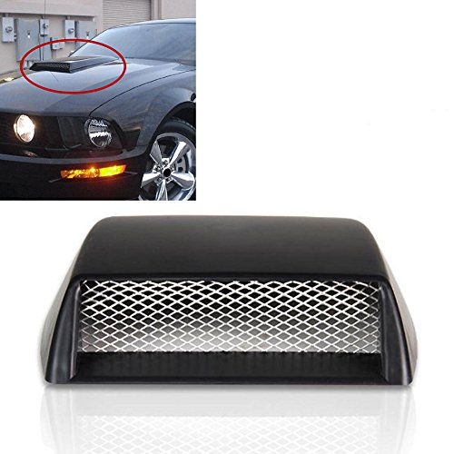 (SAVEMORE4U18 Universal Car Decorative Front Bonnet Hood Air Flow 3D Intake Scoop Vent Styling Black)