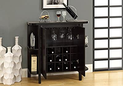 Monarch Specialties Home Bar - with Bottle/Glass Storage