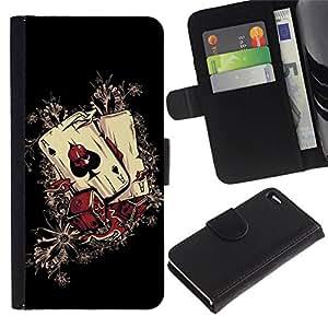 All Phone Most Case / Oferta Especial Cáscara Funda de cuero Monedero Cubierta de proteccion Caso / Wallet Case for Apple Iphone 4 / 4S // Cool Casino Aces