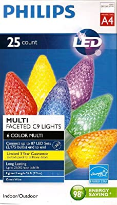 Philips 25 Count C9 Multi-Faceted Indoor/Outdoor LED Christmas String Lights, A4 - 6 Colors