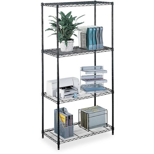 Safco Products Company Wire Shelving,W/ 4 Shelves/4 Posts,500Lb Cap,48