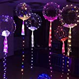 6pcs 18-inch Clear Foil Helium Bobo Balloons with Copper LED Light Bar, String Light Creative Balloon for Birthday Wedding Christmas Party Decorative