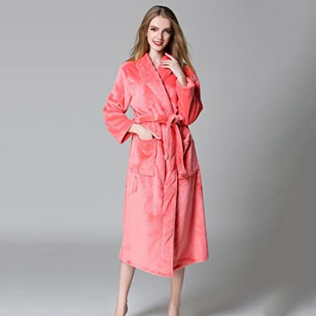 f063acbabc LUXURY Bathrobe Mens And Ladies Coral Fleece Super Soft Thick Bath Robe  Traditional Dressing Gown With Two Pockets Tie Waist Bathrobes Gym Shower  Spa Hotel ...