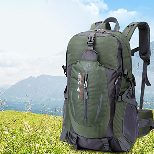 Zaino Borsa Impermeabile per Escursionismo Campeggio Esercito Viaggio Arrampicata e Trekking, Verde