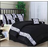 Nanshing MALI7-K Mali 7-Piece Jacquard Comforter Set, King, Black