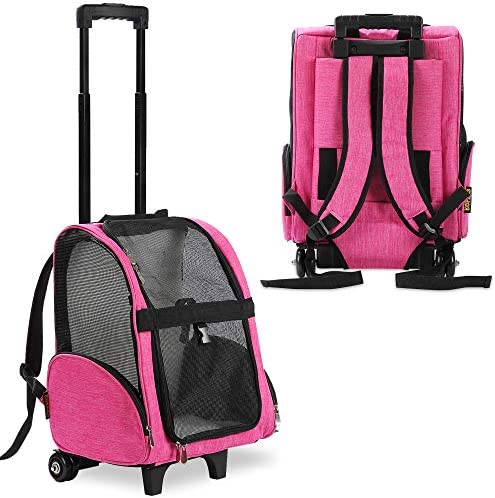 KOPEKS Deluxe Backpack Pet Travel Carrier with Double Wheels – Heather Pink – Approved by Most Airlines