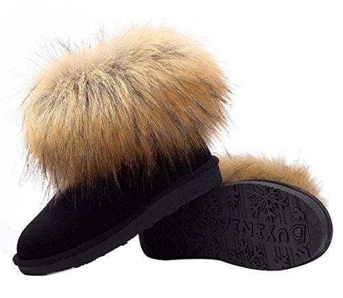HooH Women's Nubuck Fur Snow Boots 5880 Black JcRgTi0Kxc