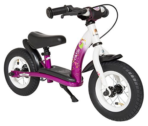 BIKESTAR Original Safety Lightweight Kids First Balance Running Bike with Brakes and with air Tires for Age 2 Year Old Girls | 10 Inch Classic Edition | Bewitching Berry