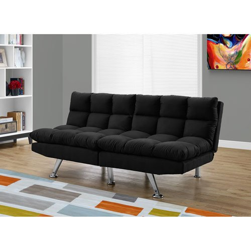 Hawthorne Ave Futon – Split Back Click Clack/Black Micro-Suede For Sale