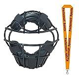 Champion Sports Baseball Heavy-Duty Youth Catcher's Mask Black Bundle with 1 Performall Lanyard BM4-1P