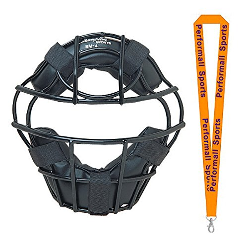 Champion Sports Baseball Heavy-Duty Youth Catcher's Mask Black Bundle with 1 Performall Lanyard BM4-1P by Champion Sports