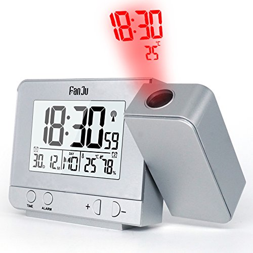 FanJu FJ3531S Projection Alarm Clock with Temperature and Time Projection/USB Charger/Indoor Temperature and Humidity/Manual Time Adjustment/Calendar/Double Alarms with Snooze Function