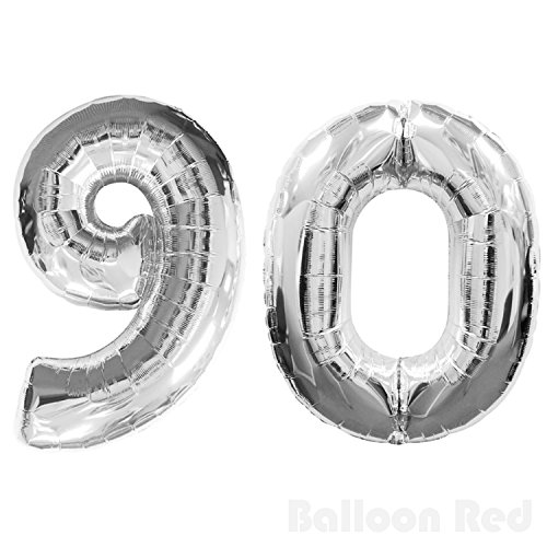 30 Inch Foil Mylar Balloons for Wall Decoration (Premium Quality, Air or PURE Helium Fill Only), Glossy Silver, Number - 30 Sign Neon X 13