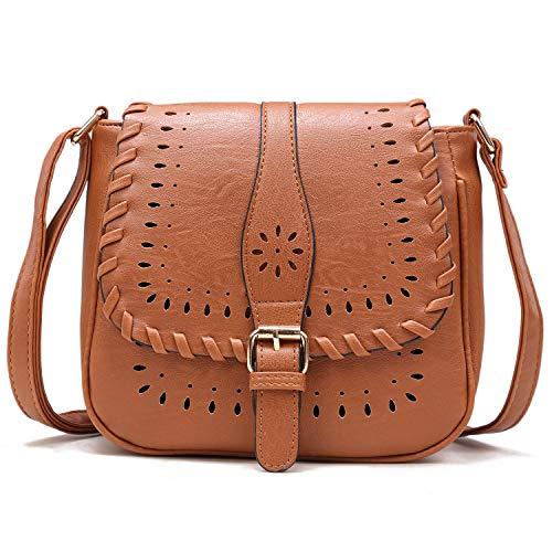 (Forestfish Ladies' Vintage Satchel Hollow Bag Crossbody Shoulder Bag Purse with Adjustable Shoulder Strape,Brown)