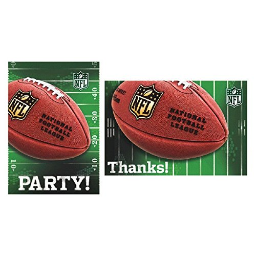 Amscan NFL Drive Birthday Party Postcard Invitations and Thank You Cards, Green/Brown, Paper, 3