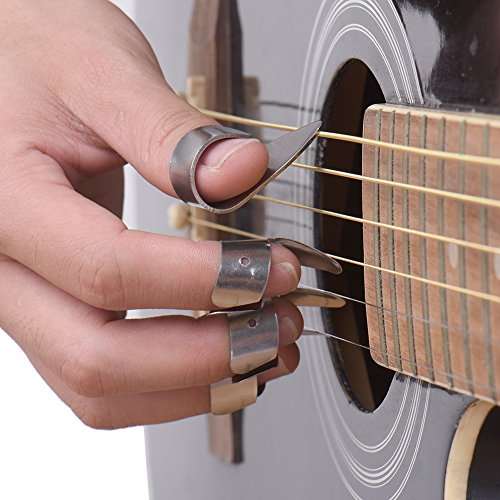 bronze stainless steel metal guitar finger picks unique ring style picks thumb pick forefinger. Black Bedroom Furniture Sets. Home Design Ideas