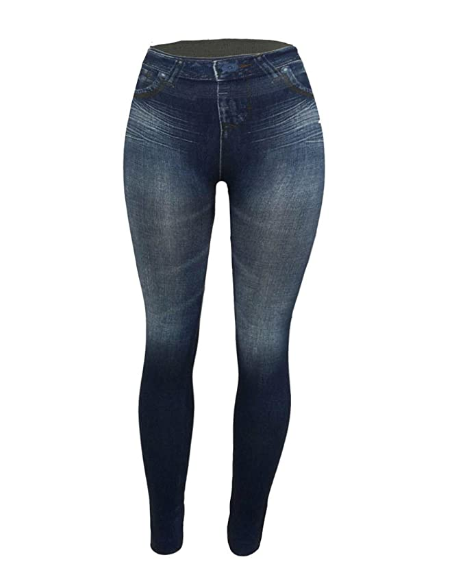 e53b60ea7198b CLOYA Women's Denim Print Fake Jeans Seamless Full Length Fleece Lined  Leggings at Amazon Women's Jeans store