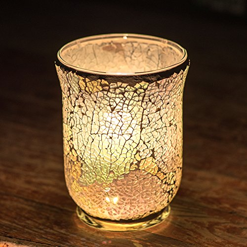 Mosaic Candle Holders Handmade Glass Tealight Large Mosaic Jar Candle Holder for Home Décor Wedding Birthday Party Gift Idea 5.9