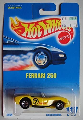 Amazon Com Hot Wheels Yellow Ferrari 250 117 Blue White Card 7 Spoke Toys Games