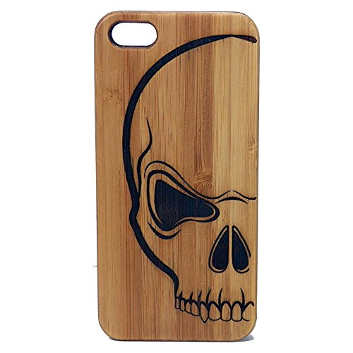 Skull iPhone 6 Plus or iPhone 6S Plus Case/Cover by iMakeTheCase | Scary Human Skull and Bones Tattoo Art | Biker Harley Pirate Gift. Eco-Friendly Bamboo Wood ()