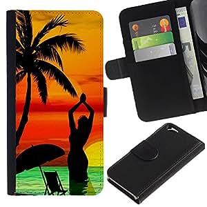 KLONGSHOP // Tirón de la caja Cartera de cuero con ranuras para tarjetas - Palmera de la playa Sunset Yoga Mujer Mar - Apple Iphone 6 //