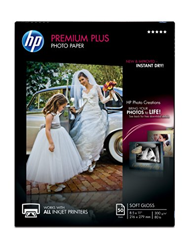 - HP Premium Plus Photo Paper, soft Gloss (50 Sheets, 8.5 x 11 Inches)