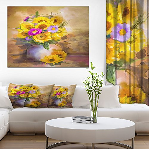 Design Art Yellow Sunflower and Violet Aster Flowers
