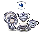 Imperial Porcelain/Lomonosov Porcelain Cobalt Net Tea Set 20 pc. for 6 persons Porcelain Tea Set