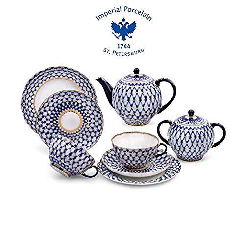 (Imperial Porcelain/Lomonosov Porcelain Cobalt Net Tea Set 20 pc. for 6 persons Porcelain Tea Set)