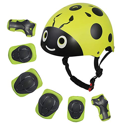 LANOVAGEAR Kids Protective Gear Set Adjustable Helmets Knee Elbow Pads Wrist Guards for Sports Bicycle Skateboard Roller Blading Skate Cycling (Yellow-Green, Small)