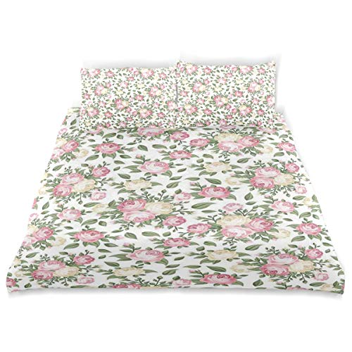 MIGAGA Duvet Cover Set, Roses Rosebuds Leaves Bouquet Flower Arrangements Bridal Victorian Style Print, Decorative 3Pc Bedding Sets with 2 Pillow Shams Full Size ()