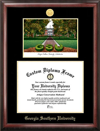 "Campus Images ""Georgia Southern Embossed Diploma"" Frame with Lithograph Print, 12"" x 15"", Gold"