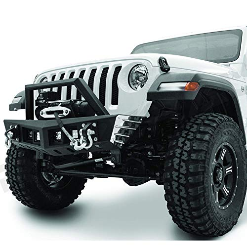 Razer Auto Black Stubby Rock Crawler Front Bumper w/Winch Plate & 2x D-Ring & 4x LED Light Mount Hole for 18-19 Jeep Wrangler JL