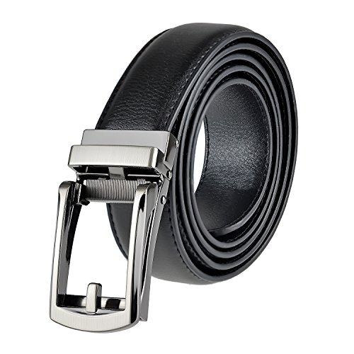 Ratchet Leather Dress Belt for Men, Up to Size 50 - Black