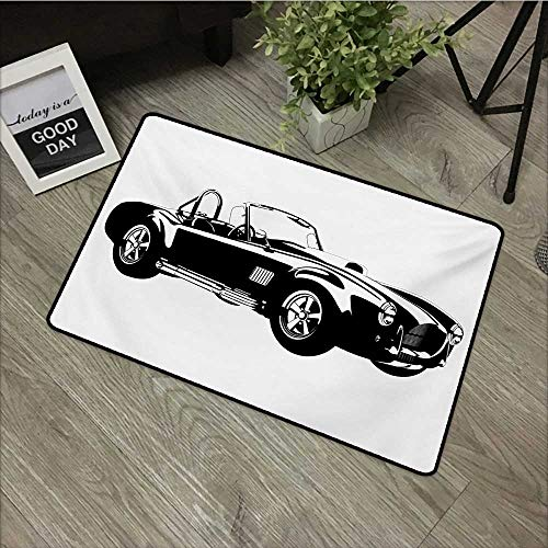 (Printed Door mat W16 x L24 INCH Cars,Silhouette Classic Sport Car Ac Cobra Roadster American Antique Engine Autosport,Black White Easy to Clean, Easy to fold,Non-Slip Door Mat Carpet)