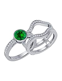 Bezel Set Round Cut Created Emerald & White Sapphire Enhancer Wedding Set 14K White Gold Plated