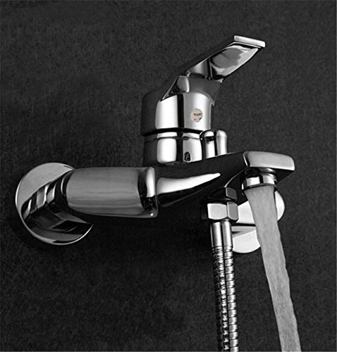 [KAMOLTECH Modern Bathroom Tap Tub Shower Faucet Wall Mount Shower Head Bath Faucet Valve Mixer] (4 Cp Double Handle)