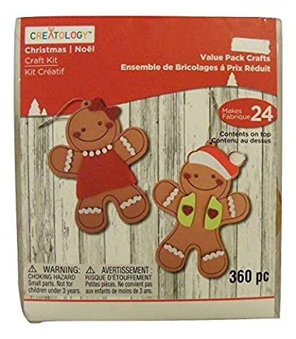 Creatology Christmas Activity Kit ~ Gingerbread Men and Women Ornaments (Makes 24 Ornaments; 360 - Gingerbread House Felt