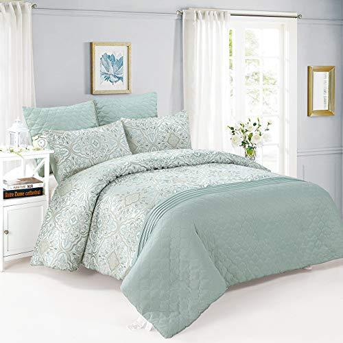 Queen Comforter Set 6 Pieces Jacquard with Microfiber 1 Comforter 2 Euro Sham 2 Sham 1 Bedskirt Pintuck Embossed Mint (Mint, Queen 6 Pieces)
