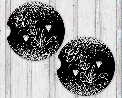 Bling Life Sandstone Car Coasters with Printed Diamond Confetti and Black Background, Set of 2