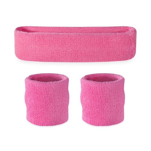nd Set (1 Headband / 2 Wristbands) (Pink) (Nylon Tennis Jersey)